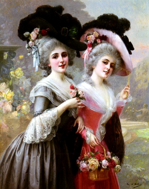 painting of two Georgian ladies by Spanish painter Cristobal de Antonio